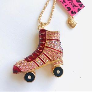 Red Crystal Roller Skate Necklace